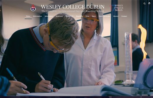 Screenshot of the Wesley College Dublin website