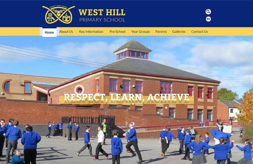 Screenshot of the West Hill Primary website