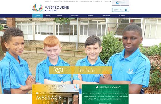 Screenshot of the Westbourne Academy website