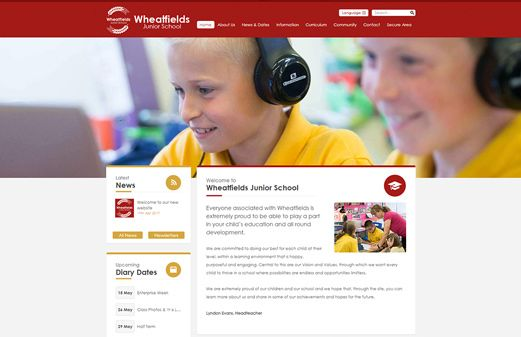 Screenshot of the Wheatfields Junior School website
