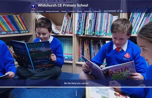 Screenshot of the Whitchurch Primary School website