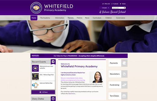 Screenshot of the Whitefield Primary Academy website