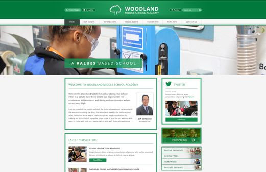 Click to view school website design for Woodland Middle School