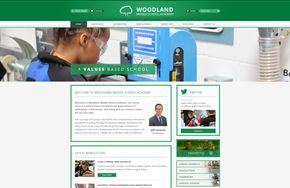 Screenshot of the Woodland Middle School website