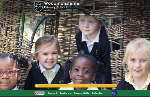 Screenshot of the Woodmansterne (Surrey) Primary School website