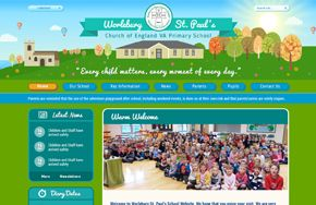 Screenshot of the Worlebury St Paul's Primary School website