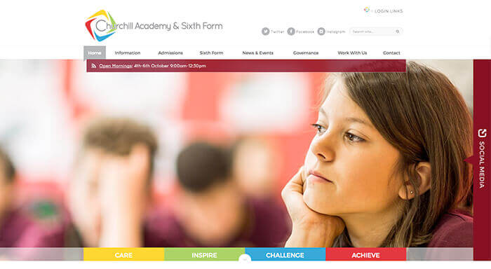 Churchill Academy Website Design